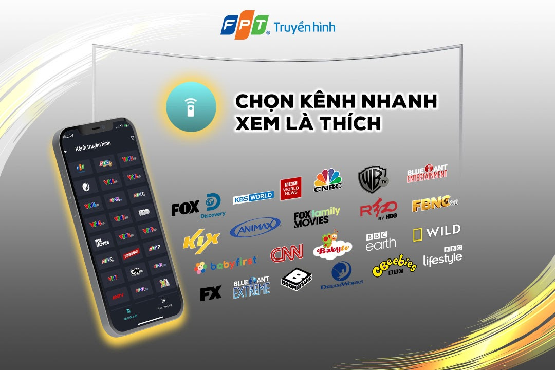 Dễ dàng lựa chọn các kênh truyền hình trên app fpt tv remote