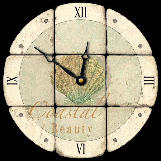 Coastal Decoupage Wall Clock