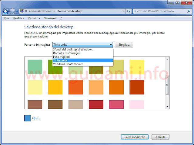 Windows 7 opzioni tinta unita sfondo del desktop