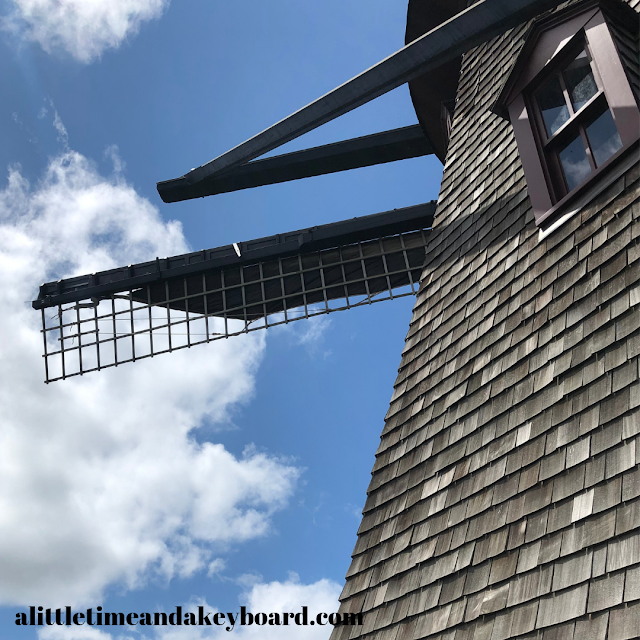 Stepping outside on a balcony gave us a unique look at the sails of the windmill at Fabyan Windmill.