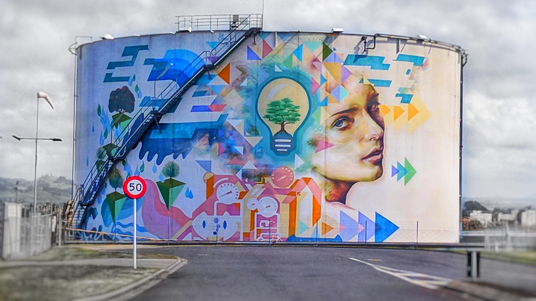 Fuel tank mural in Ports of Tauranga