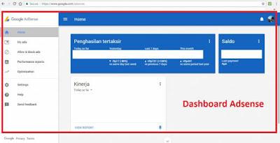 Masuk Dashboard Google Adsense