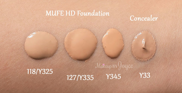 Makeup Forever Ultra HD Concealer Y33 Foundation Y325 Y335 Swatches