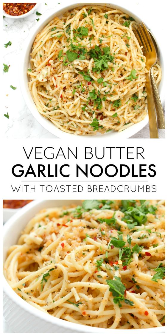 These Vegan Butter Garlic Noodles with Toasted Breadcrumbs are a simple pasta dish with all kinds of flavor. The breadcrumbs add a crunch that is next level delicious!