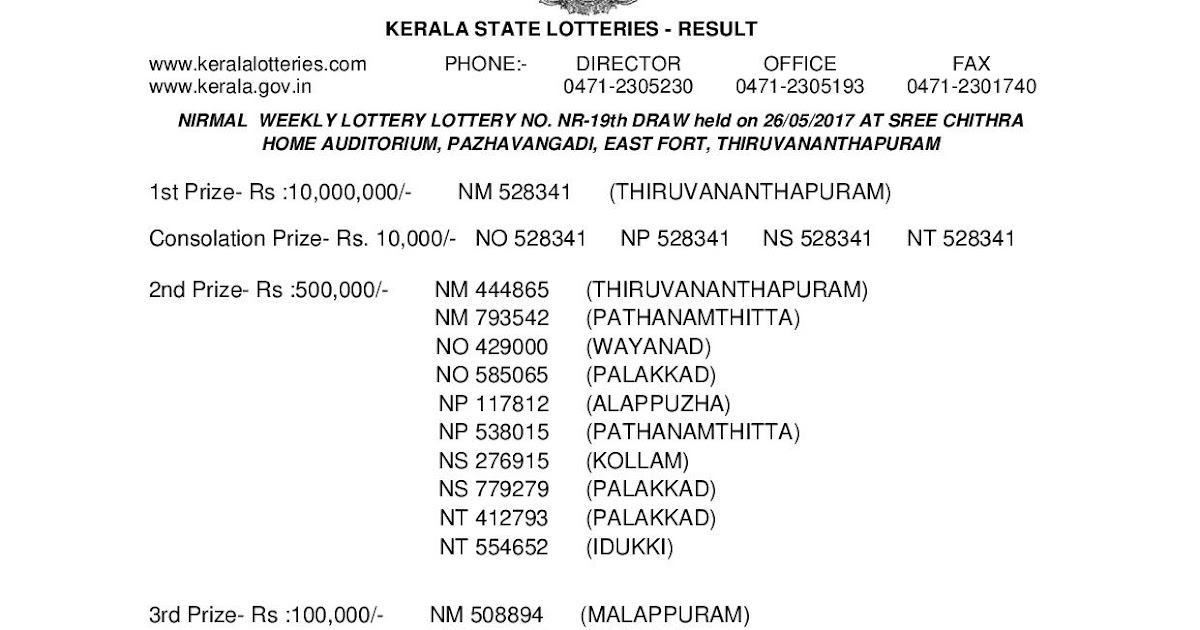 Nirmal NR 19 Lottery Results PDF