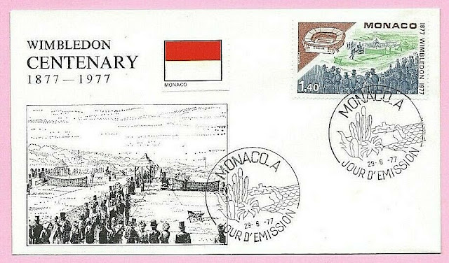 Monaco FDC from 1977 commemorating the Wimbledon centenary