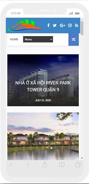 Mẫu website bất động sản dự án quận 9 giao diện điện thoại