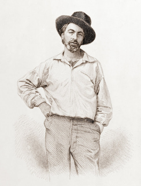 Walt Whitman, steel engraving, July 1854