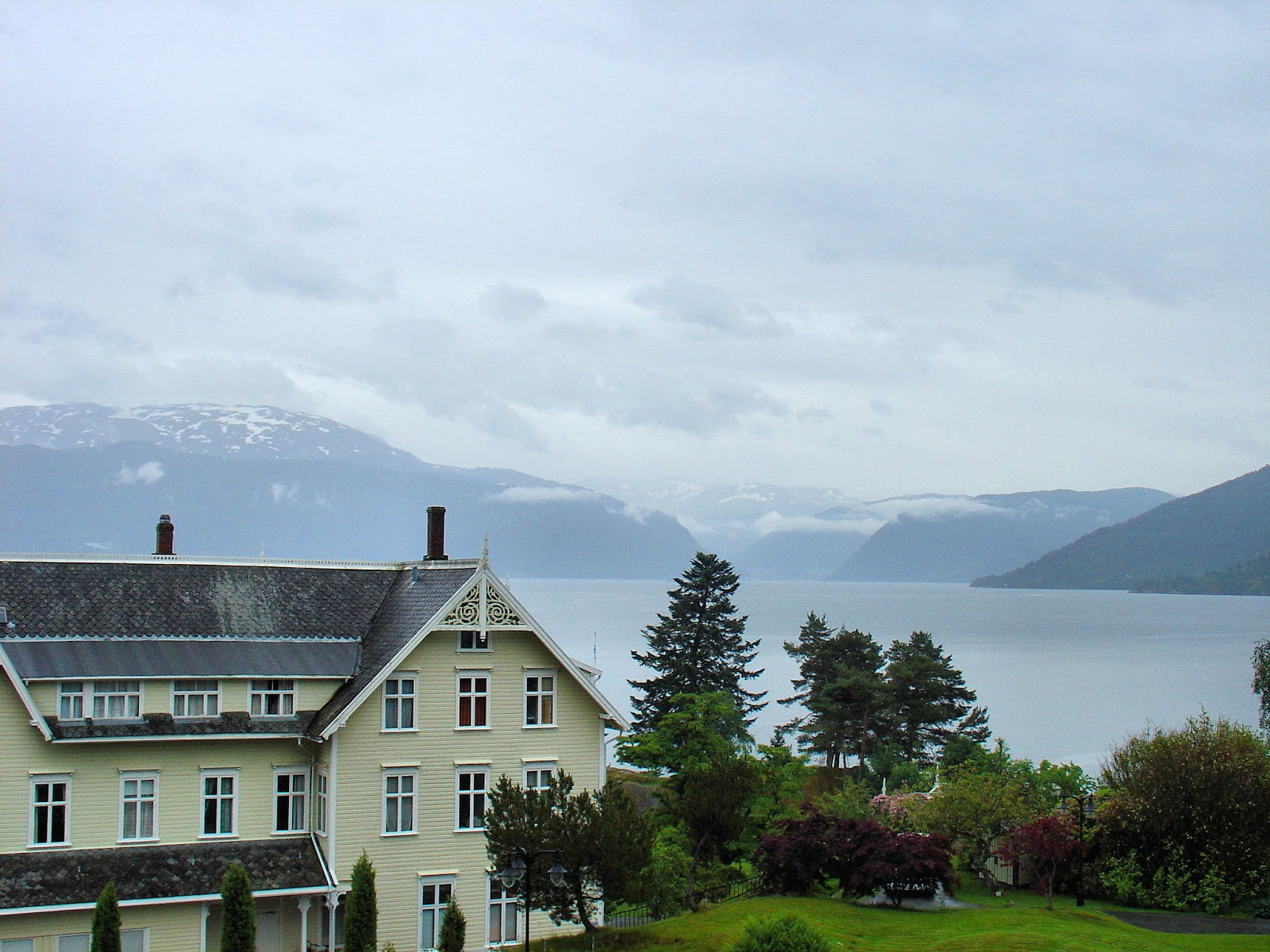 The Sognefjord provides a stunning backdrop for the Kviknes Hotel as seen from my room.