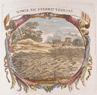 "An engraving of a wheat field enclosed in an ornamental border and a banner reading ""Nimia sic sternit ubertas."""