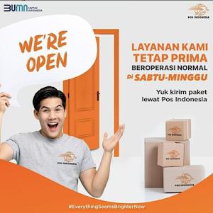Sekarang Kirim paket lewat Pos Indonesia di hari Saptu dan Minggu bisa banget ya