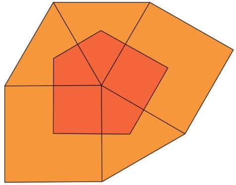 Três triângulos equiláteros e dois quadrados formam uma figura plana, como ilustrado