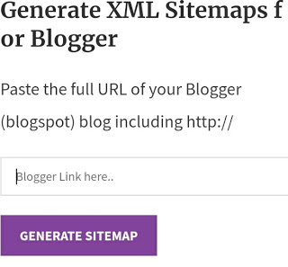 Sitemap XML  generate for blogger free