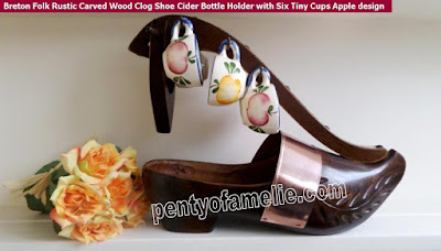 Breton Rustic Cider bottle holder, Carved wood folk Clog with six tiny cups, hand painted apples design