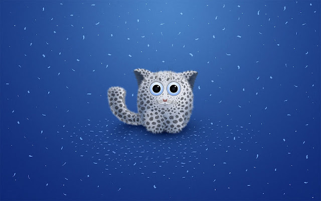 Blauwe wallpaper met een 3D kat