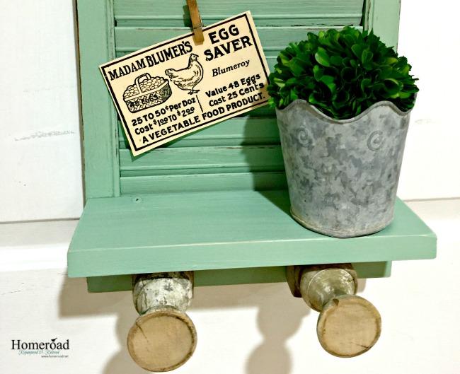 Vintage Green Shutter Shelf