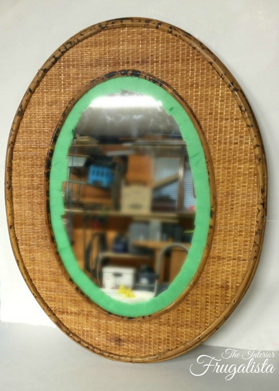 Oval rattan thrift store mirror Before makeover