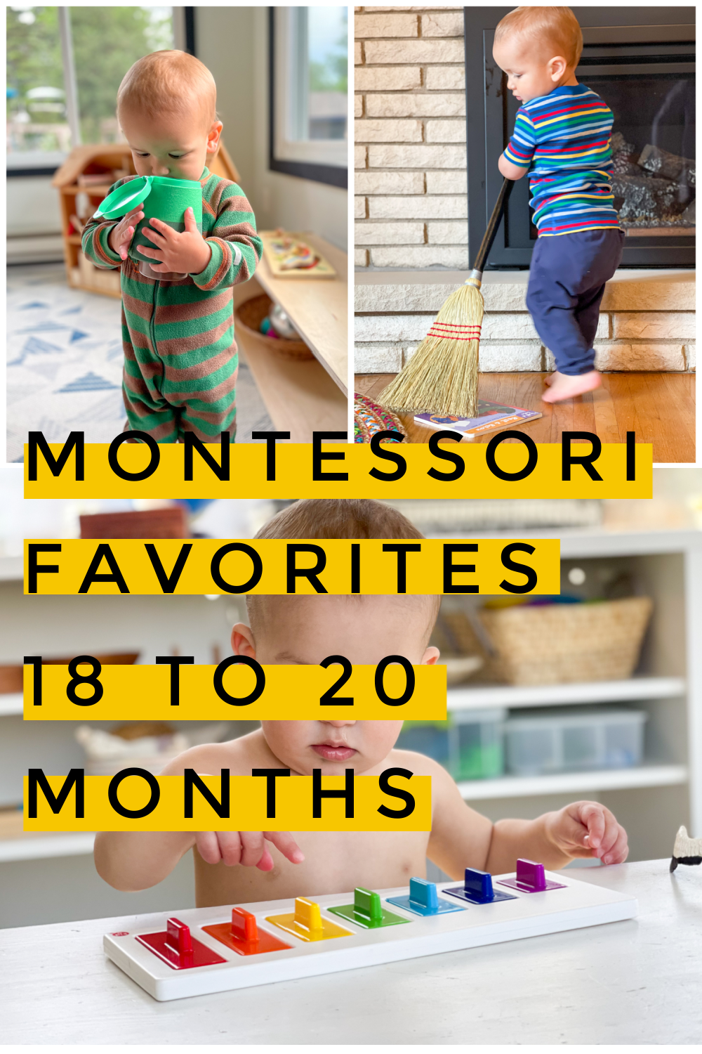 A look at some favorite Montessori inspired toys and activities from 18 to 20 months old. These simple, fun activities are perfect for 1-year-olds.