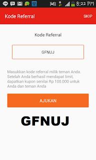 Masukan kode referal