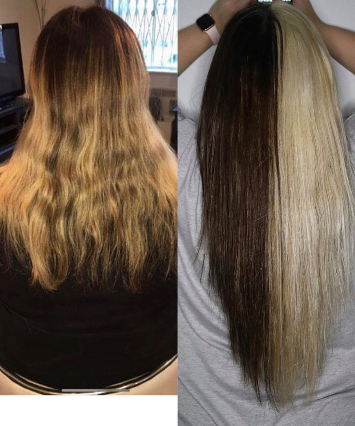 Before and after nano ring hair extensions. Split dye hair. Blonde brunette dark brown. Hair growth techniques lee stafford treatment shampoo conditioner. How to grow my hair long fast faster quick quickly.