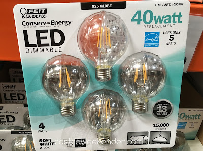 Feit Electric G25 Globe 40 Watt LED: great for bath & vanity, pendant lamps, etc.