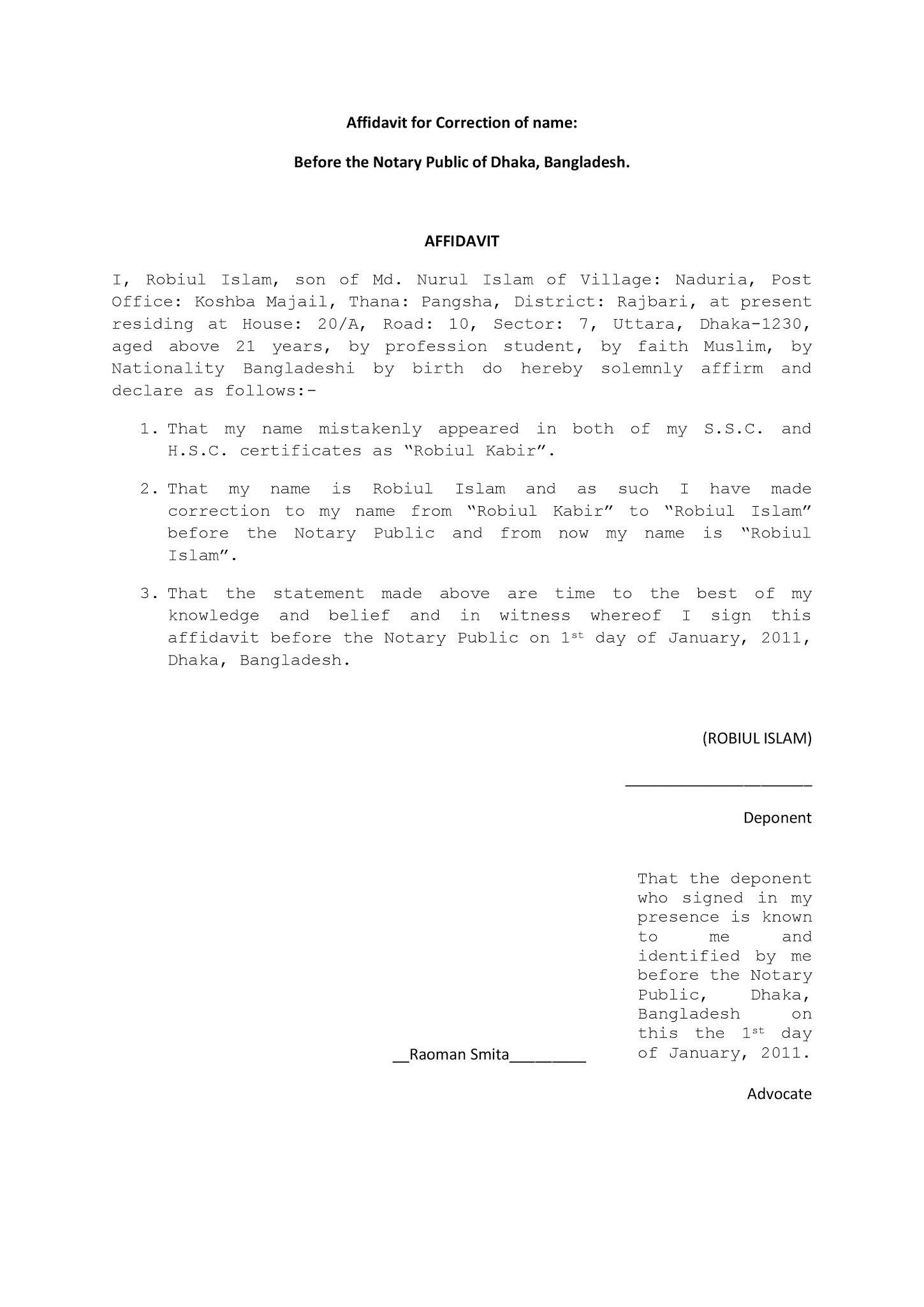 Affidavit For Correction of Name