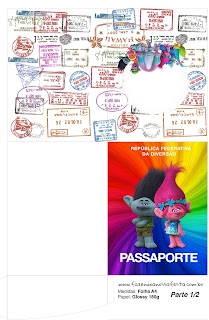 Imprimible con forma de Pasaporte de Trolls.