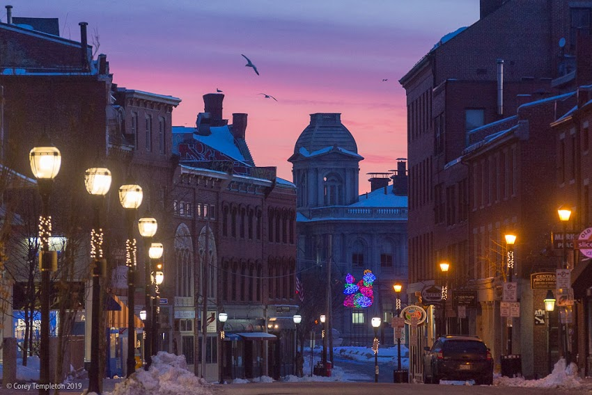 Portland, Maine February 2019 photo by Corey Templeton of Fore Street Old Port Winter Sunrise.