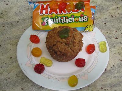 Muffins allégés en sucres aux pépites de bonbons Haribo Fruitilicious