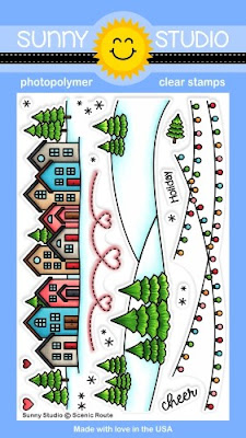 Sunny Studio Stamps: Scenic Route 4x6 House, Hillside with Trees, Hanging Lights and Stitched Heart Loopy Border Clear Holiday Christmas Stamp Set