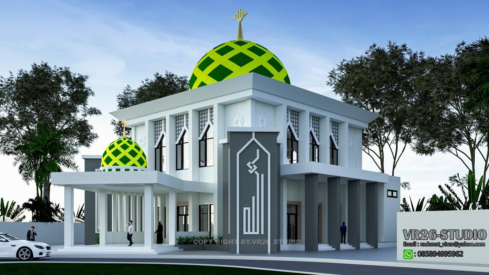 3d Visualizer Desain Masjid Modern Minimalis 2 Lantai Masjid minimalis modern