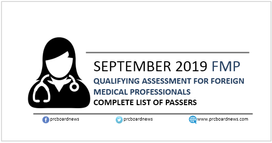 RESULT: September 2019 Qualifying Assessment for Foreign Medical Professionals (FMP) passers