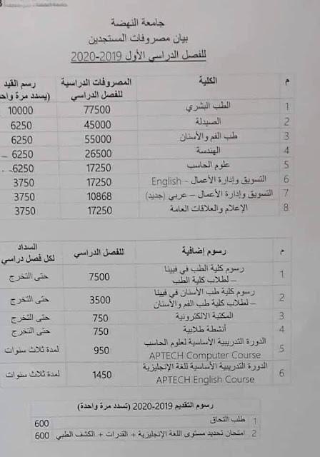 مصاريف ورسوم جامعة النهضة - بيان بمصروفات المستجدين 2019 الفصل الدراسى الاول والثانى