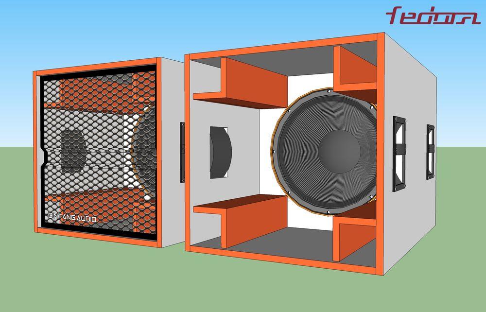 Tampak depan speaker box planar horn