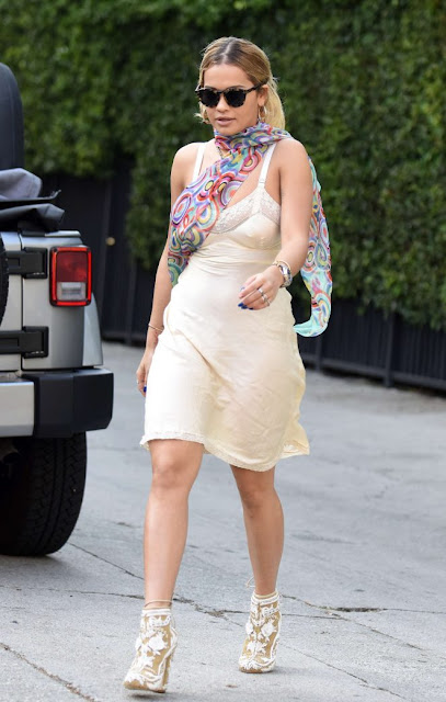 Rita Ora in a frisky silk slip dress out in Los Angeles