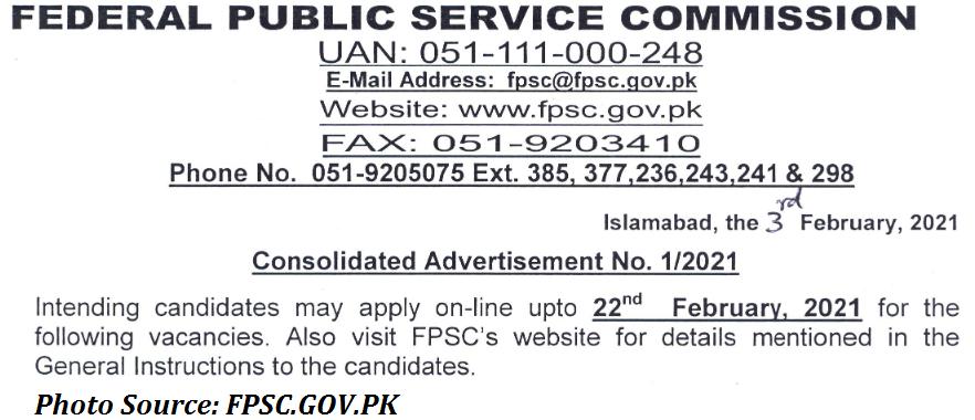 FPSC Jobs 2021 - FPSC Jobs 2021 Latest Advertisement Apply Online FPSC Jobs 2021 01/2021 fpsc.gov.pk