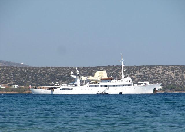 Luxury cruiser in Greek islands