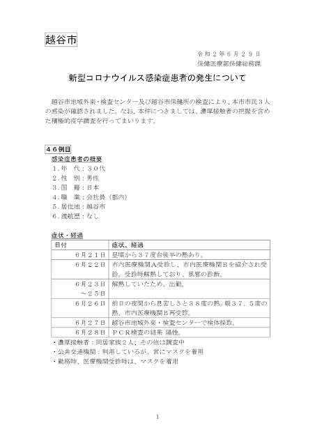 新型コロナウイルス感染症患者の発生について(6月29日発表)