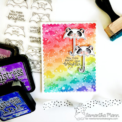You Make Rainy Days Better Card by Samantha Mann for Newton's Nook Designs, rainbow, stencil, umbrella, ink blending, distress inks, handmade cards, card #inkblending #newtonsnook #cards #rainbow