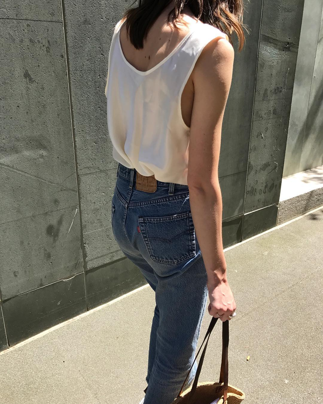 Stylish Spring Outfit Idea with Silk Tank Top and Straight-Leg Jeans