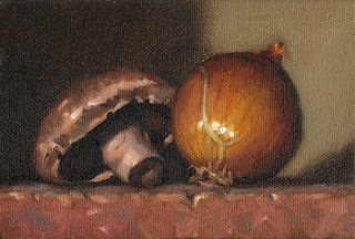 Still life oil painting of a brown onion beside a brown mushroom.