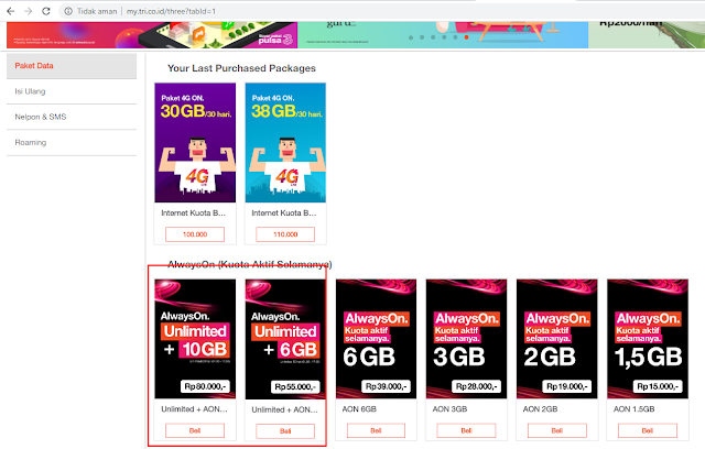 Paket internet unlimited 3 murah