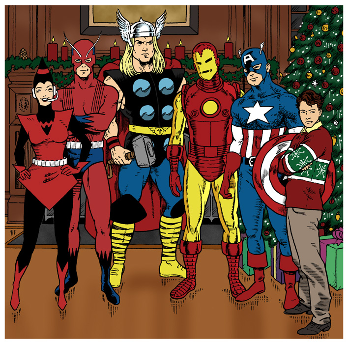 Wasp, Giant-Man, Thor, Iron Man, Captain America, and Rick Jones standing in front of an Avengers Mansion fireplace next to a Christmas tree.