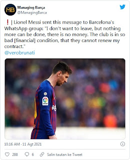HEBOH.. Beredar Pesan WhatsApp Terakhir Messi Sebelum Tinggalkan Barcelona, Cek Isinya Bikin Trenyuh