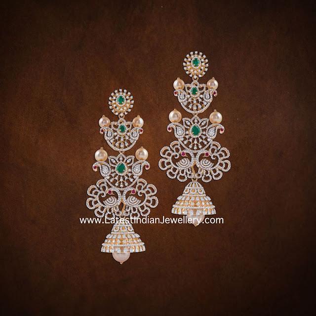 Peacock Themed Diamond Jhumkas