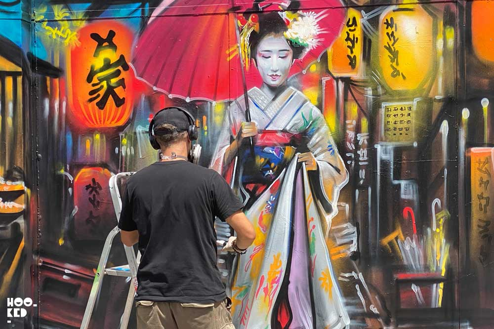 Dan Kitcheners Beautiful Geisha Street Art in London
