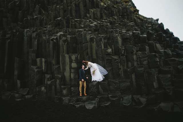 reynisfjara, Vík, beach, basalt, columns, photo, wedding, portrait