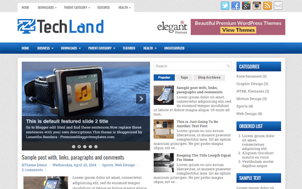 TechLand Free Blogger Template