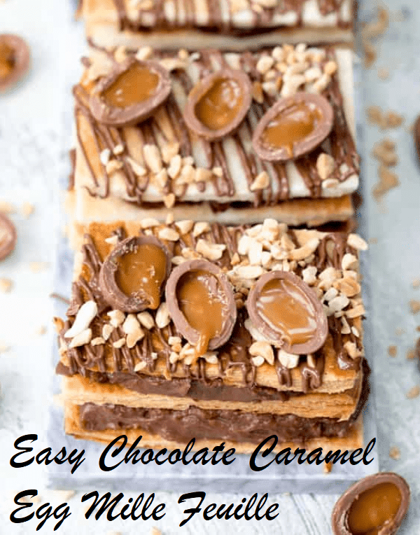 Easy Chocolate Caramel Egg Mille Feuille