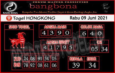 Prediksi Bangbona HK Rabu 09 Juni 2021